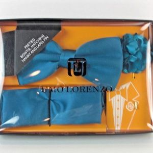 Men's Blue New Bow Tie & Pocket Square & Lapel Pen